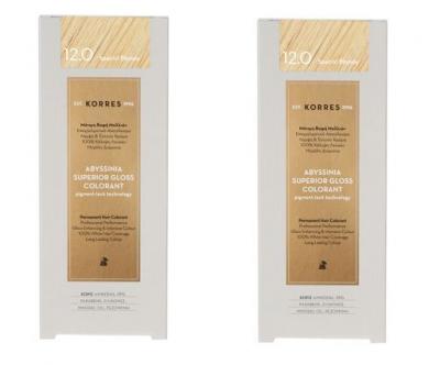 Korres Πακέτο Προσφοράς 1+1 Abyssinia Superior Gloss Colorant Μόνιμη Βαφή Μαλλιών No 12.0 Special Blonde, 2x50ml