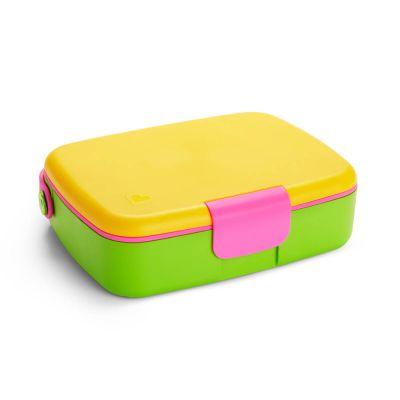 Munchkin Σκευος Μεταφορας Φαγητου Με Κουταλοπηρουνα Bento Box Κίτρινο/Ροζ