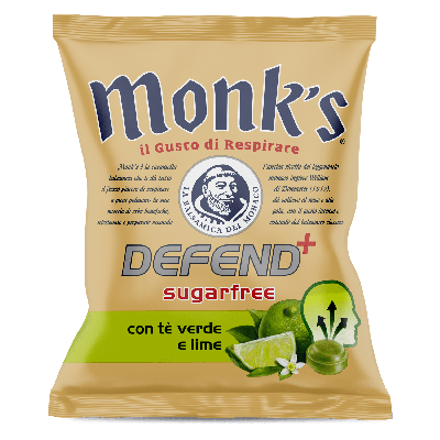 Monk's Defend+ green tea and lime Καραμέλες 46g