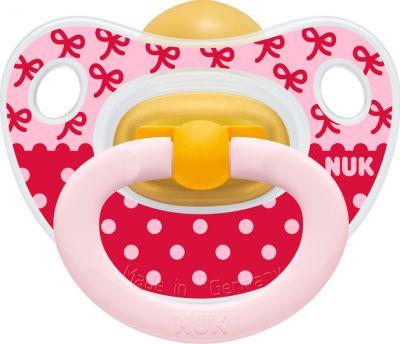 Nuk Classic Happy Kids Πιπίλα Καουτσούκ, 18-36m Ροζ - Κόκκινη