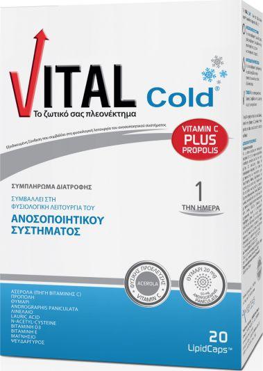 Vital Plus Cold με Vitamin C και Πρόπολη 20 μαλακές κάψουλες