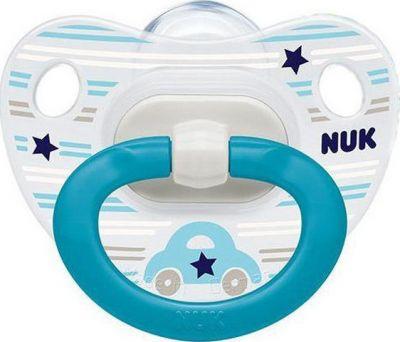 Nuk Classic Happy Days Πιπίλα Σιλικόνης Με Κρίκο Από 0 Έως 6 Μηνών Μπλε Αυτοκίνητο (10.730.119)