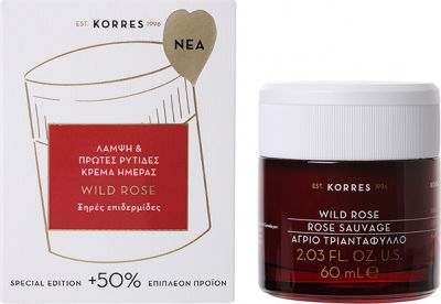 Korres Wild Rose Άγριο Τριαντάφυλλο Λάμψη & Πρώτες Ρυτίδες Κρέμα Ημέρας Ξηρές Επιδερμίδες 60ml (+50% δωρεάν προϊόν)