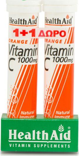 Health Aid 1+1 ΔΩΡΟ Vitamin C 1000mg 20 Αναβράζουσες Ταμπλέτες & Vitamin C 1000mg 20 Αναβράζουσες Ταμπλέτες