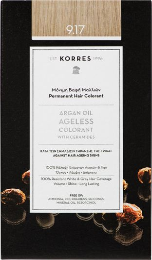 Korres Argan oil Ageless Colorant Νο 9.17 Κατάξανθο Ανοιχτό Μπεζ 1τμχ