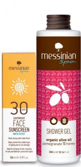 Messinian Spa Ματ Αντηλιακή Κρέμα Προσώπου SPF30 50ml + Δώρο Shower Gel Ρόδι Και Μέλι 300ml