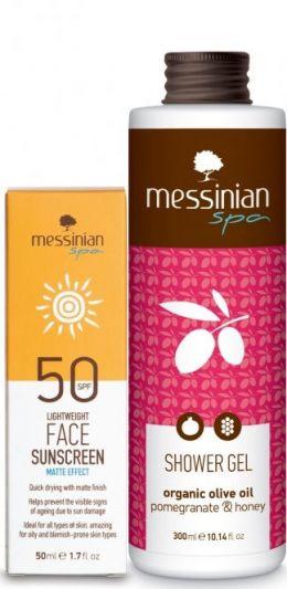 Messinian Spa Ματ Αντηλιακή Κρέμα Προσώπου SPF50 50ml + Δώρο Shower Gel Ρόδι Και Μέλι 300ml