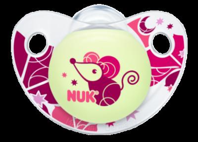 Nuk Πιπίλα σιλικόνης Night & Day Από 6 Έως 18 Μηνών  Ροζ Ποντικάκι
