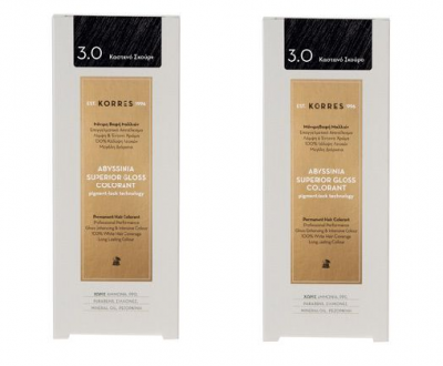Korres Πακέτο Προσφοράς 1+1 Abyssinia Superior Gloss Colorant Μόνιμη Βαφή Μαλλιών No 3.0 Καστανό Σκούρο, 2x50ml