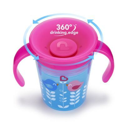 Munchkin Εκπαιδευτικό Κύπελλο Miracle 360° Pink Bird 6+ 177ml