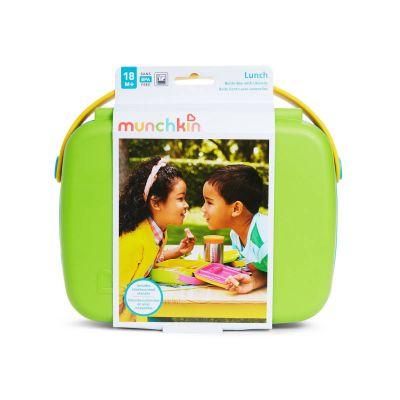 Munchkin Σκευος Μεταφορας Φαγητου Με Κουταλοπηρουνα Bento Box Πρασινο/μπλε