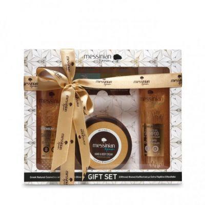 Messinian Spa Premium Gift Set - Βασιλικός Πολτός & Ελίχρυσος Αφρόλουτρο 300ml / Σαμπουάν 300ml / Κρέμα Χεριών & Σώματος 250ml