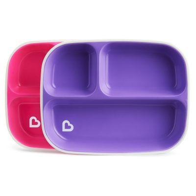 Munchkin Splash™ Toodler Divided Plates 2 τμχ Ροζ - Μωβ