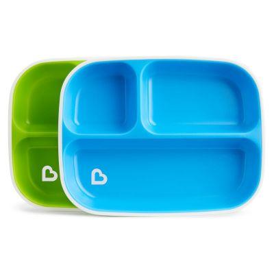 Munchkin Splash™ Toodler Divided Plates 2 τμχ Μπλε - Πράσινο