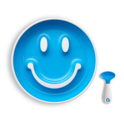 Munchkin Set Smile 'n Scoop™ Plate & Training Spoon Μπλε