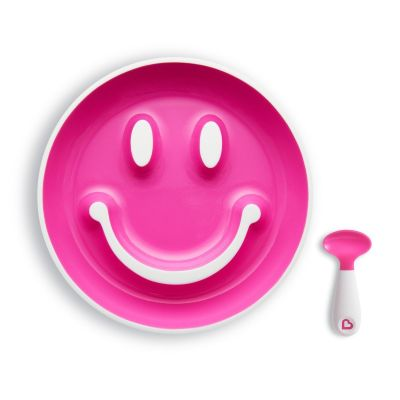 Munchkin Set Smile 'n Scoop™ Plate & Training Spoon Ροζ