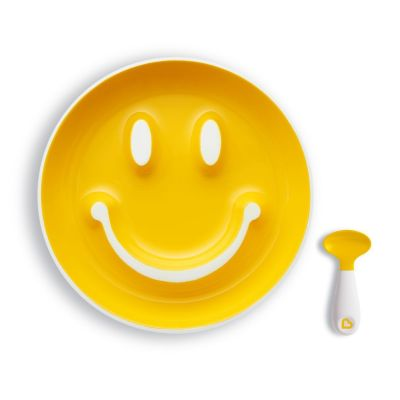 Munchkin Set Smile 'n Scoop™ Plate & Training Spoon Κίτρινο