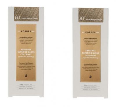 Korres Πακέτο Προσφοράς 1+1 Abyssinia Superior Gloss Colorant Μόνιμη Βαφή Μαλλιών No 8.1 Ξανθό Ανοιχτό Σαντρέ, 2x50ml