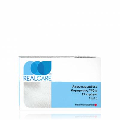 Αποστειρωμένες γάζες Real Care 15x15cm 12τεμάχια