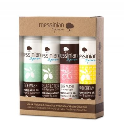 Messinian Spa - Travel Kit No2 - Face Wash 55ml / Micellair Lotion 55ml / Hair Mask Σώματος 55ml / Hand Cream 55ml