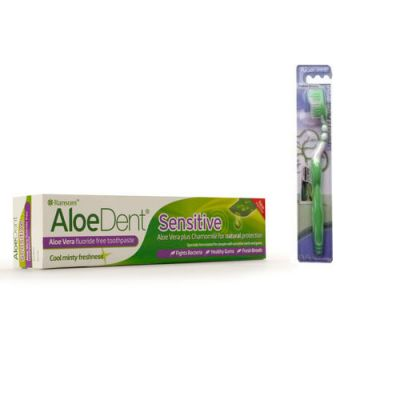 Optima AloeDent Sensitive Toothpaste 100ml + Δώρο οδοντόβουρτσα Πράσινη