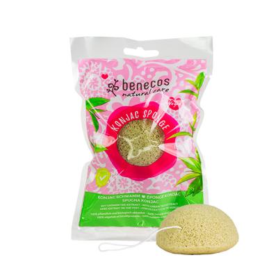 Benecos Σφουγγάρι Καθαρισμού Προσώπου Konjac Πράσινο Τσάι 1τμχ