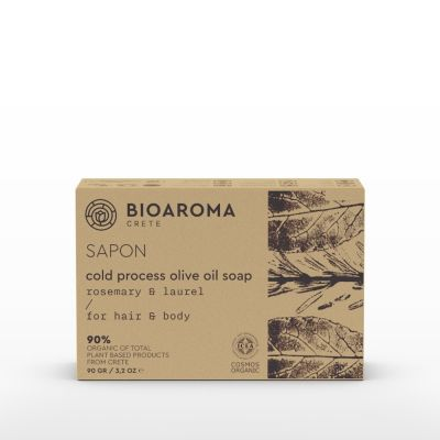Bio Aroma Οργανικό Σαπούνι ελαιολάδου με Δεντρολίβανο & Δάφνη (ψυχρής μεθόδου) 90gr