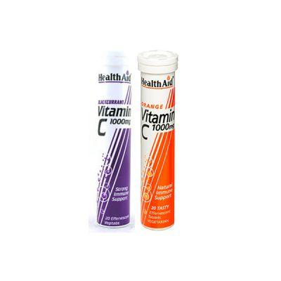 Health Aid 1+1 ΔΩΡΟ Vitamin C 1000mg 20 αναβράζουσες ταμπλέτες Φραγκοστάφυλλο & Vitamin C 1000mg 20 αναβράζουσες ταμπλέτες Πορτοκάλι