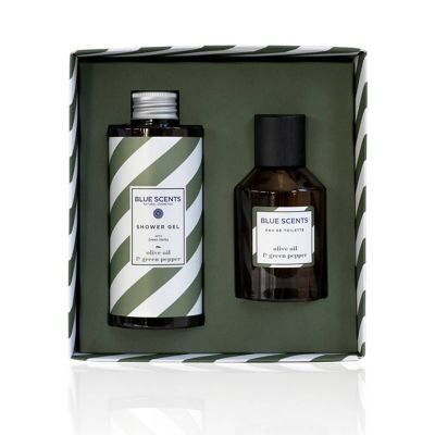Blue Scents Gift Set Olive Oil & Green Pepper Shower Gel 300ml & Eau De Toilette 100ml