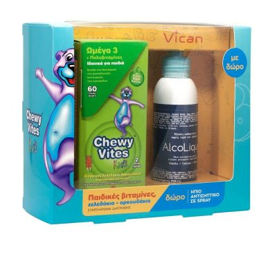 Chewy Vites Omega 3 60 Ζελεδάκια & Δώρο AlcoLiquid 150ml
