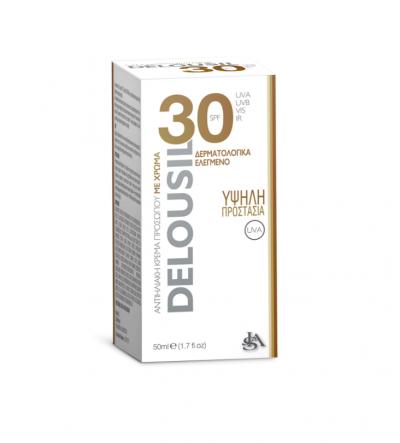 SJA Pharm Delousil Silky Skin Formula with color SPF 30+ Αντιηλιακή Κρέμα Προσώπου με Σκούρο Χρώμα 50ml