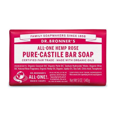 Dr.Bronner's Pure-Castile Bar Soap Rose 140gr