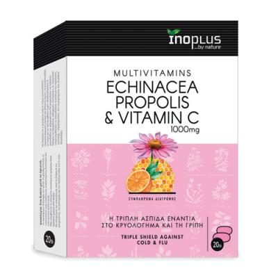 Inoplus Echinacea Propolis & Vitamin C Τριπλή Ασπίδα Ενάντια Στο Κρυολόγημα Και Τη Γρίπη 20 Ταμπλέτες