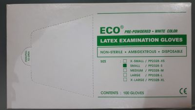 Eco Latex Λευκά Γάντια Ελαφρώς Πουδραρισμένα Small 100 τεμ