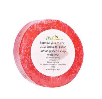 Bio Aroma Απολεπιστικό σαπούνι γλυκερίνης με Λούφα Τριαντάφυλλο 100gr
