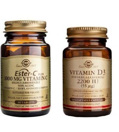 Solgar Ester-C Plus 1000mg Vitamin C 30caps & Solgar Vitamin D3 2200iu 55μg 50caps