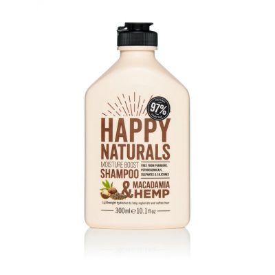 Happy Naturals Everyday Moisture Shampoo Macadamia & Hemp, Σαμπουάν Ελαφριάς Ενυδάτωσης για Καθημερινό Λούσιμο, 300ml