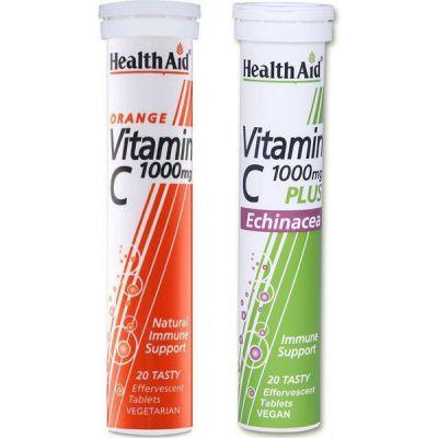 Health Aid 1+1 ΔΩΡΟ Vitamin C Plus Echinacea 1000mg 20 Αναβράζουσες Ταμπλέτες & Vitamin C 1000mg 20 Αναβράζουσες Ταμπλέτες Πορτοκάλι