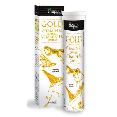 Inoplus Gold Vitamin C 1500mg & Vitamin D 2000iu με Γεύση Πορτοκάλι 20 Αναβράζοντα Δισκία