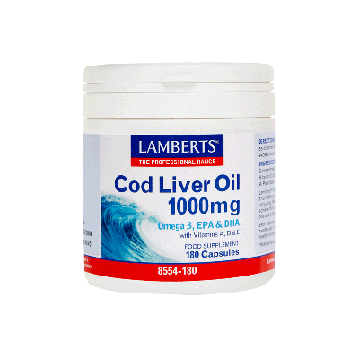 Lamberts Cod Liver Oil 1000mg, Μουρουνέλαιο με Ω-3 Λιπαρά Οξέα και Βιταμίνες A,D,E 180 Κάψουλες
