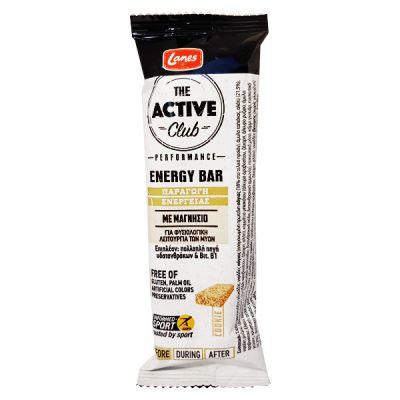 Lanes Active Club Energy Bar, Μπάρα Ενέργειας με Γεύση Cookie, 40gr