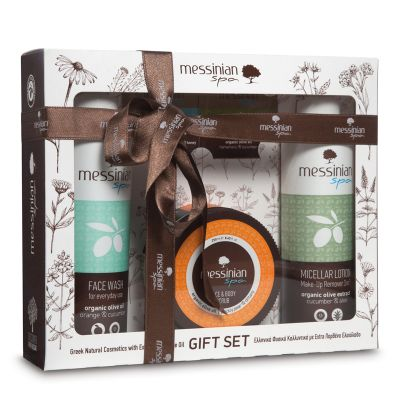 Messinian Spa Gift Set 4 | Micellar Lotion Make-Up Remover 3 In 1 Αγγούρι-Αλόη 300ml - Υγρό Καθαριστικό Προσώπου Πορτοκάλι & Αγγούρι 300ml - Κρέμα Απολέπισης Προσώπου & Σώματος Φραγκόσυκο Και Δίκταμο 250ml