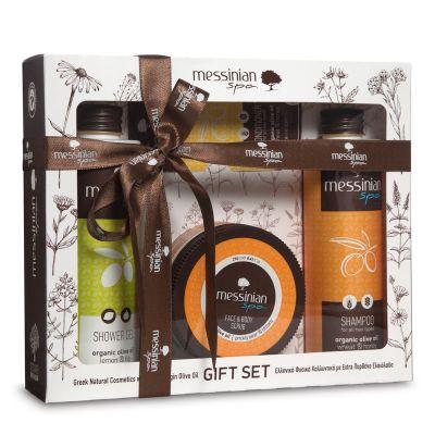 Messinian Spa Gift Set 5 | Shampoo Με Σιτάρι & Μέλι 300ml - Κρέμα Απολέπισης Προσώπου & Σώματος Φραγκόσυκο Και Δίκταμο 250ml - Shower Gel Με Λεμόνι & Σύκο 300ml