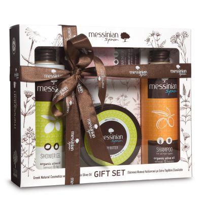 Messinian Spa Gift Set 5 | Shampoo Με Σιτάρι & Μέλι 300ml - Body Butter Λεμόνι & Σύκο 250ml - Shower Gel Με Λεμόνι & Σύκο 300ml