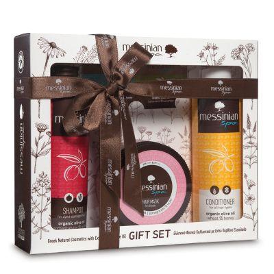 Messinian Spa Gift Set | Shampoo Με Ρόδι & Σταφύλι 300ml - Μάσκα Μαλλιών Ρόδι & Δαφνέλαιο 250ml - Κρέμα Μαλλιών Σιτάρι & Μέλι 300ml