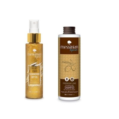 Messinian Spa Βασιλικός Πολτός & Ελίχρυσος Shimmering Dry Oil 100ml & Ελίχρυσος Σαμπουάν 300ml