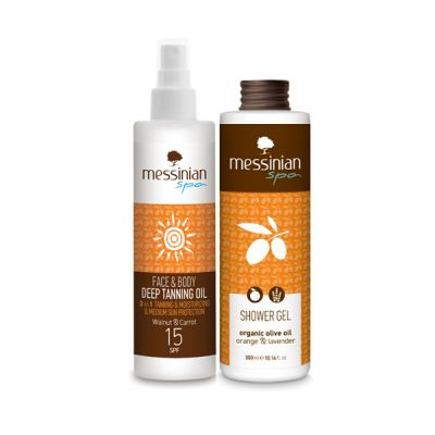 Messinian Spa Face & Body Tanning Oil SPF15 Wallnut & Carrot 2in1 250ml + Δώρο Shower Gel Ρόδι Και Μέλι 300ml