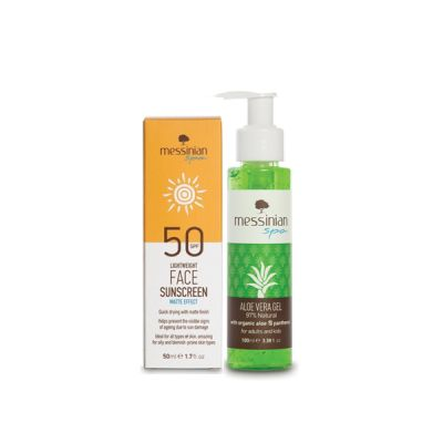 Messinian Spa Face Cream Matte SPF50 50ml & Aloe Vera Gel 100ml