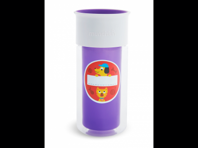 Munchkin Ποτηράκι Εκπαιδευτικό Miracle 360˚ Insulated Sticker Μωβ 1τμχ