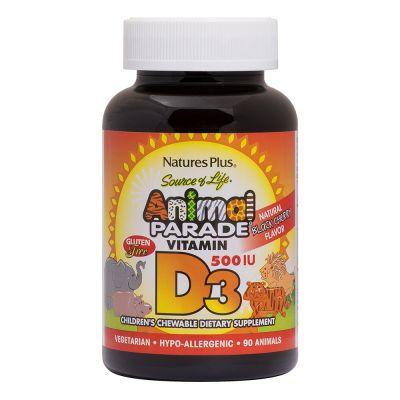 Natures Plus Animal Parade Vitamin D3 500IU 90 Μασώμενες Ταμπλέτες